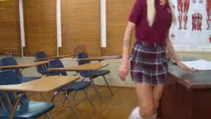 Blonde schoolgirl rides her teacher