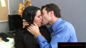 Dark haired girl and her boyfriend are about to have sex in the office, in the hotel room