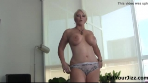 Busty woman, Alura Jenson is having her first threesome, and it looks like she likes it