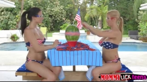Two gorgeous blonde ladies, Alexis Fawx and her sister decided to spread up and get fucked