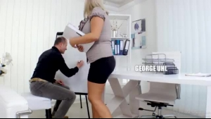 Nerdy blonde chick is very good at making guys explode from pleasure early in the morning
