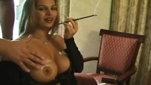 Petite blonde, Rola Summers is enjoying while gently rubbing her partner's big meat stick