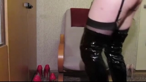 An amateur muscled, man Jessy Jones is riding a cock while wearing boots sexy cumes long legged boots
