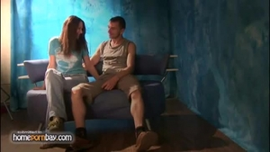 Hot Russian woman enjoys getting tied up and screwed in the machine, while kneeling on the floor